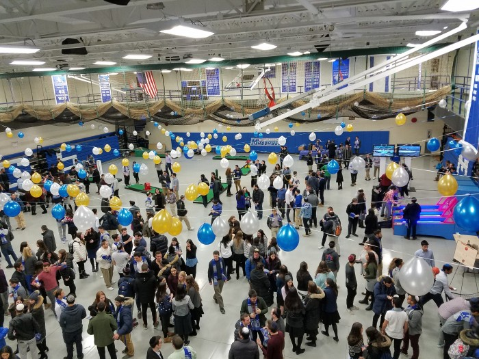 The gym and its foyer were full of students reveling at Chanukahfest.
