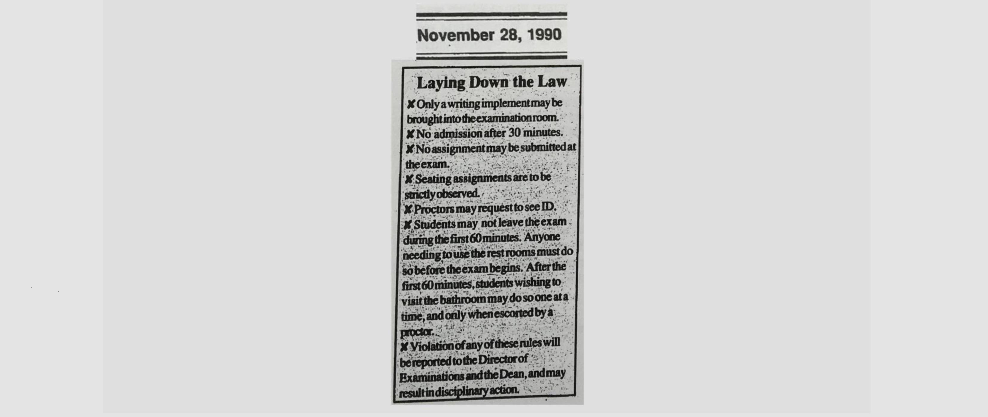 From the Commie Archives (November 28, 1990; Volume 55 Issue 5) — New Proctor to Crack Down on Cheating
