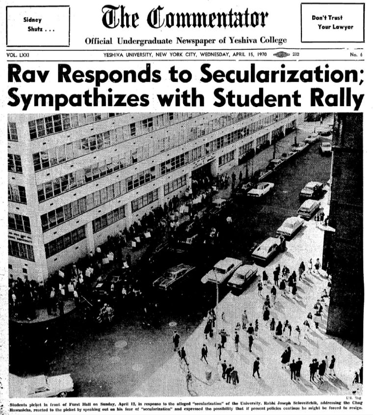 From the Archives: Rav Soloveitchik Decries Secularization of Yeshiva; Students Protest at Chag Hasemicha
